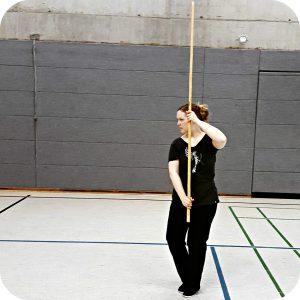 Tai Chi blog Qialance: Angelika Fritz practicing Tai Chi Stick
