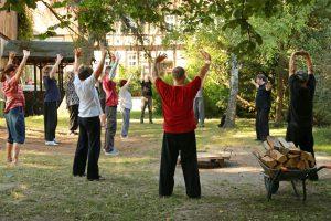 Sommerakademie Altenrode 2015: Teilnehmer unter Bäumen