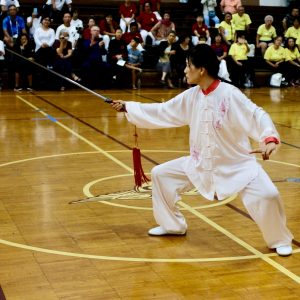 Janet Jin performing Tai Chi sword