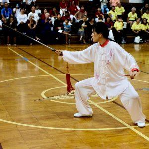 Janet Jin performing Tai Chi sword